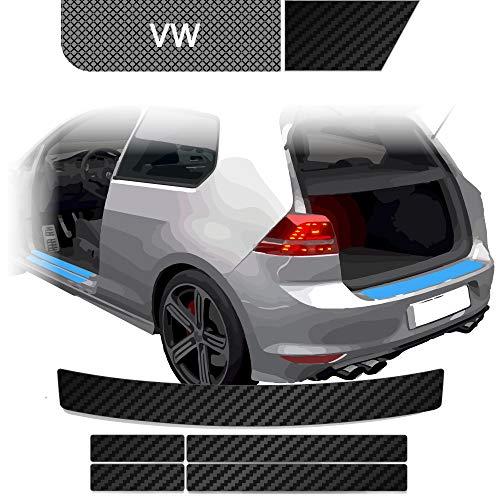 BLACKSHELL Ladekantenschutz + Einstiegsleisten Set inkl. Premium Rakel für Golf 6 Variant Carbon Matt - passgenaue Lackschutzfolie, Auto Schutzfolie