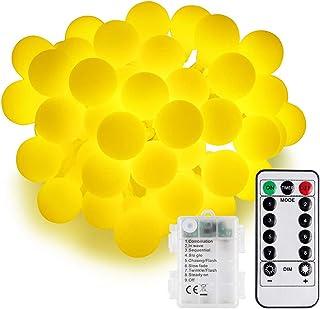 Speclux - Guirnalda de luces LED (5 m, 50 ledes, funciona con pilas, IP44, resistente al agua, para Navidad, bodas (blanco...