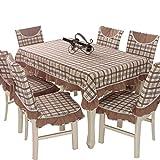 DYR Manteles 6PC / Set Mantel de Lino de algodón Resistente para mesas cuadradas Mantel de celosía Rectangular de Simplicidad sólida para decoración de Mesa de Comedor de Cocina