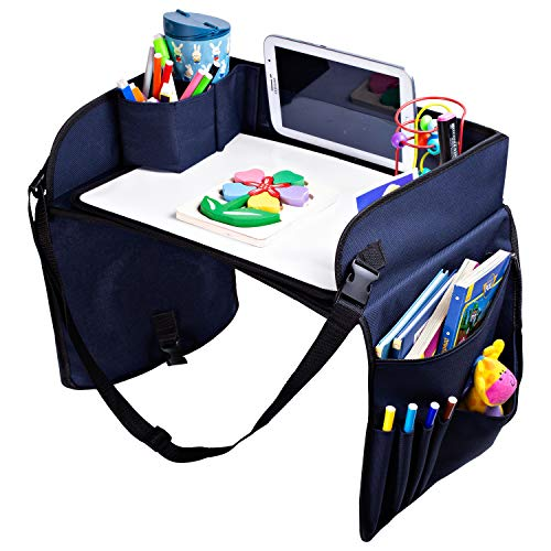 Kids Travel Tray Car Seat - Activity Tray for Car and Road Trip Organizer for Kids, Toddlers, Snack and Play Travel Tray, Waterproof, Sturdy Nylon, Includes Dry Erase Board and Markers, SKIPIDOO