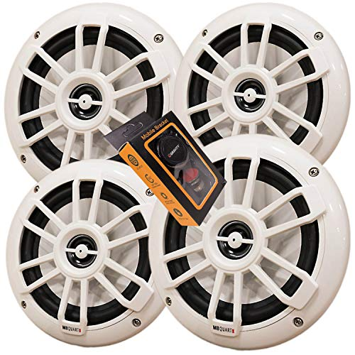 """2 Pairs of MB Quart NF1-116 Nautic Series 6-1/2"""" Shallow-Mount Marine Speakers with White Grilles + Gravity Magnet Phone Holder"""