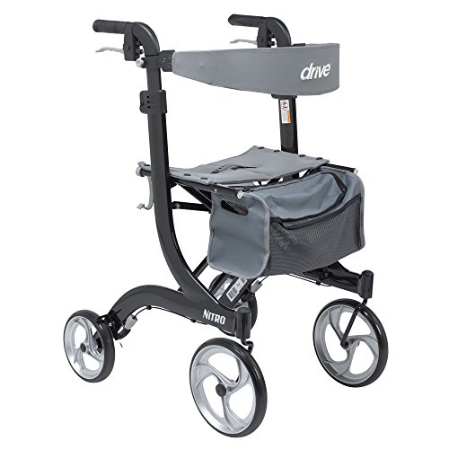 Drive Medical Nitro Euro Style Rollator Walker, Tall Height, Black 1 Count