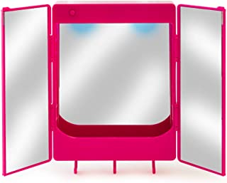 LockerMate Magnetic Locker Vanity, Whiteboard and Mirror with Light, Pink