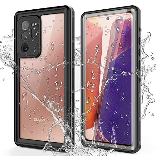 PLESON Samsung Galaxy Note 20 Ultra Waterproof Case, Built-in Screen Protector, IP68 Full Body Protection Underwater Shockproof Snowproof Rugged Anti-Drop Protective Note 20 Ultra Case, Clear 6.9'