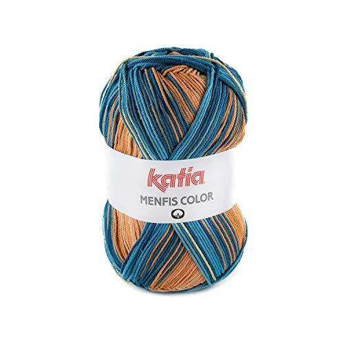 Katia Menfis Color 109 - Gomitolo di cotone con sfumature di colore, 100 g, per lavoro a maglia, uncinetto, spessore dell'ago 2,5 - 3,5 mm