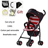 LEZDPP Baby Stroller, Stroller, Can Sit Reclining Bicycle Folding Bike Child Baby Four