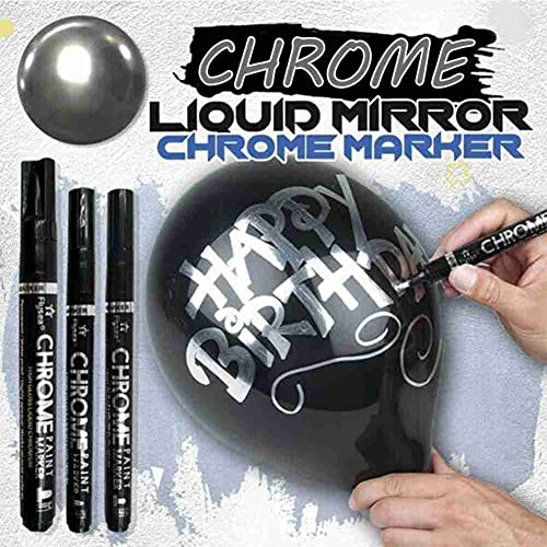 ZEREA Rotulador cromado con espejo líquido, bolígrafo de pintura reflectante, cromo líquido,...