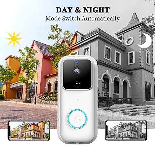 Timbre de Video Inalámbrico, Vista de Cámara HD de 1080p con Conversación Bidireccional en Tiempo Real, Visión Nocturna y Gran Recordatorio de Detección de Movimiento PIR (Incluye Batería)