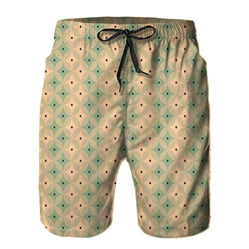 Hombres Verano Secado rápido Pantalones Cortos Playa Fondo de patrón de rombo Vintage geométrico Transparente Trajes de baño Correr Surf Deportes-2XL
