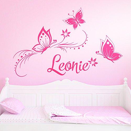Wandaro Wandtattoo Wunschname mit Blüten & Schmetterlingen I pink (BxH) 84 x 57 cm I Kinderzimmer Wandsticker Wandaufkleber Aufkleber Sticker Baby W3275