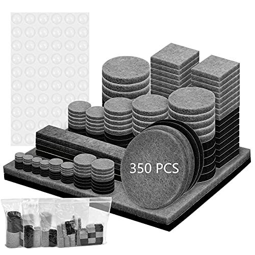 Feltrini Adesivi 350 pezzi, Feltrini Autoadesivi, Feltrini Autoadesivi Rotondi Quadrati, Feltro Adesivo, Feltrini per Mobili, Feltrini per Sedie, Proteggi i Tuoi Pavimenti (grigio nero)