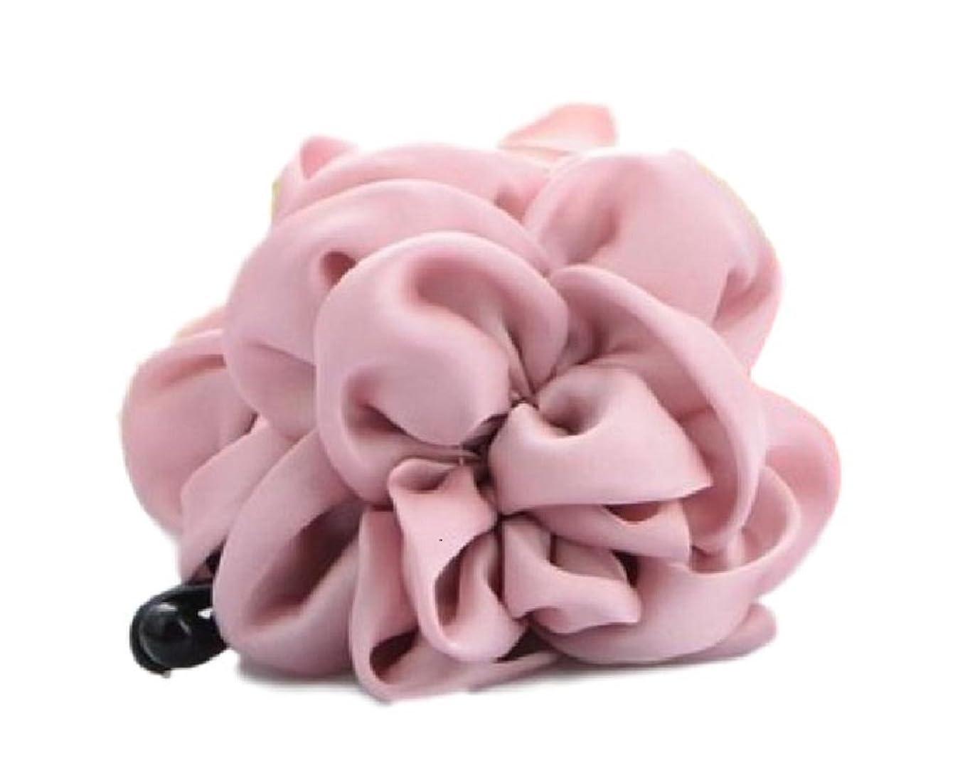 曖昧なこんにちは計器おしゃれ かわいい バナナクリップ 大きめ フリル フラワー ふんわり リボン レディース ヘアー アクセサリー 髪留め (ピンク)