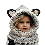 Shinetop Baby Kids Winter Warm Hat Scarf Set Infant Toddler Crochet Knitted Woolen Caps Cute Earflap Hood Scarves Beanies