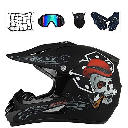 Casco motocross bambino, Certificato D.O.T casco da cross Bambino E Ragazzi, Casco da Motociclista Unisex con Occhiali/Maschera/Guanti regalo di ideale per bambini (L: 59-60 cm,B1)
