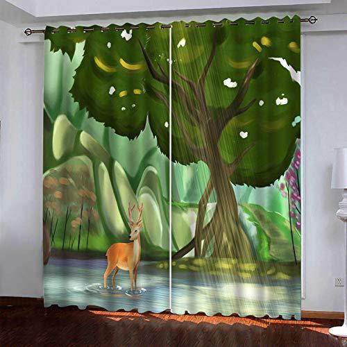 AYMAYM Blackout Vorhänge Wohnzimmer Vorhänge Stoffe Tuch Schalldichte wärmeisolierender Verdunkelungsvorhang Wald Tiere Elch. Weihnachts-Halloween-Erntedankgeschenk