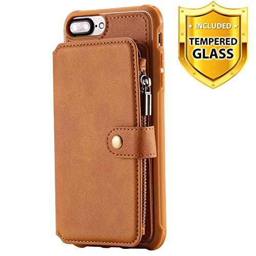 Boloker für iPhone 8/7 Plus Hülle (5,5 Zoll) + Displayschutz, Reißverschluss Flip PU Leder Schutzhülle Stand Handy Tasche Brieftasche Unterstützung Wallet Case Cover [Magnetisch] (Kaffee)