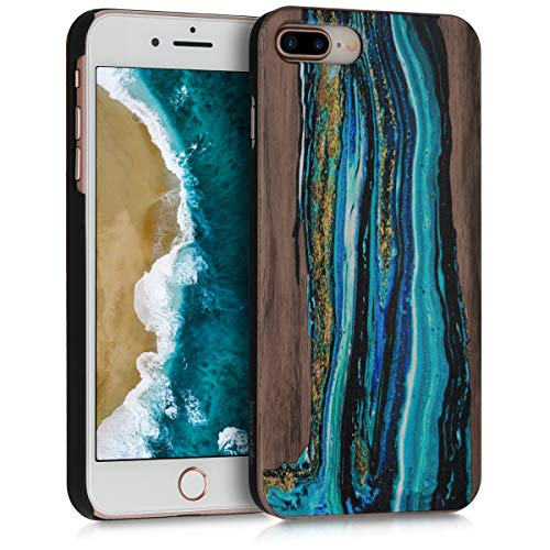 kwmobile Case Compatible with Apple iPhone 7 Plus / 8 Plus - Wood Case Hard Wooden Design Cover - Watercolor Waves Blue/Brown