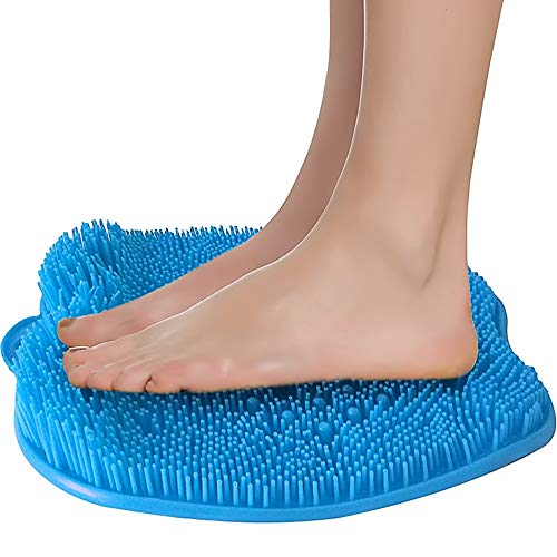 Shower Foot Massager Scrubber & Cleaner - Improves Foot Circulation & Reduces Foot Pain - Soothes Tired Achy Feet - Non Slip with Suction Cups