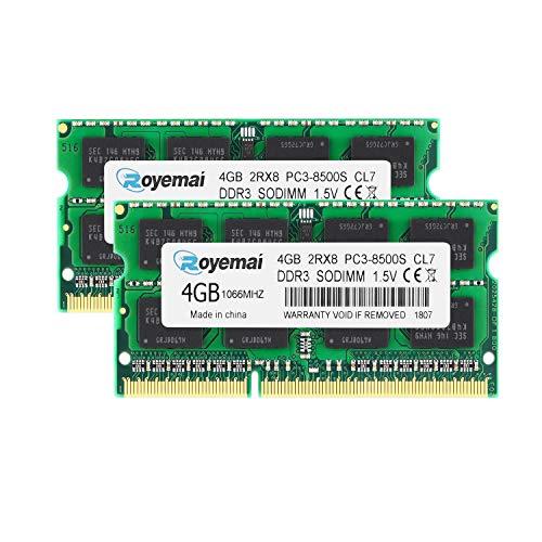 DUOMEIQI PC3-8500 8GB Kit (2x4GB) DDR3 1066MHz RAM 2Rx8 4GB 204pin SO-DIMM 1.5V CL7 Arbeitsspeicher Upgrade für MacBook, MacBook Pro, iMac, Mac Mini