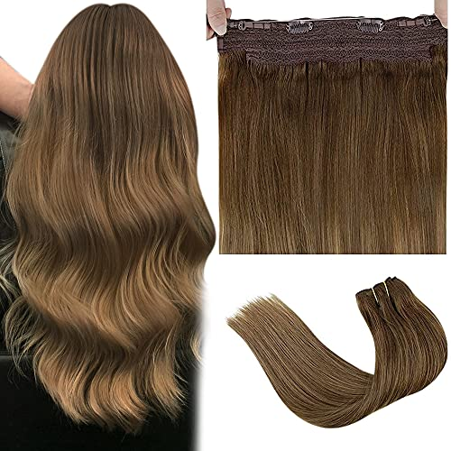 LaaVoo Halo Hair Extensions, Halo Couture Hair Extensions Medium Brown Balayage Light Brown Ombre Dark Blonde Halo Wire Human Hair Extensions Balayage Halo Extensions with Secret Clips Brown 80g 18'