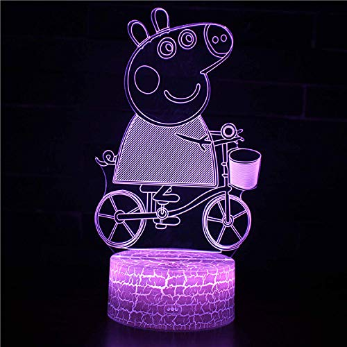 3D Optical Illusion Light-Anime Cartoon pig-3D Night Light LED for Dimmable Touch Control Brightness Light for Home Decoration Birthday and Holiday Gifts for Children(with USB Cable)-Touch+Remote
