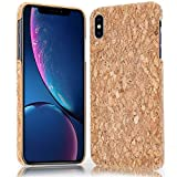 NALIA Cork Case Compatible with iPhone Xs Max, Ultra-Thin Wood Look Back-Cover Protector Natural Design, Slim Protective Hardcase Skin Shock-Proof Bumper, Smart-Phone Etui, Designs:Light Cork Pattern