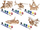 Original Hobby Wood Craft 3D Puzzles (Set of 5 Includes Locomotive Train, Biplane, Helicopter, Lifeboat, and Sea Rover) with 5 Sets of Paints