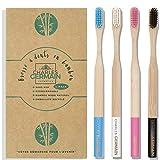Charles Germain Cosmetics - Cepillo de dientes de bambú, madera natural, cepillo de dientes biodegradable, de bambú ecológico