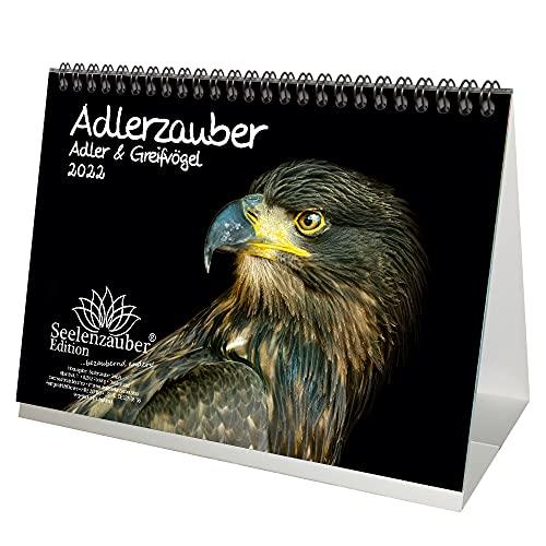 Calendrier de table Aigle & Greifvögel format A5 pour 2022 – Coffret cadeau comprenant 1 calendrier, 1 carte de vœux de Noël et 1 carte de vœux (3 pièces au total)