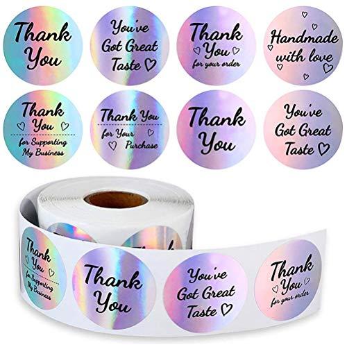 Dan&Dre Rollo de 500 pegatinas redondas de papel de agradecimiento, rollo de 3,8 cm, 8 diseños, etiquetas de agradecimiento para tiendas de repostería