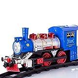 YZ-YUAN Juego de vías de Tren eléctrico, simulación de Tren de Vapor de ferrocarril Retro, Juego de Modelo de Tren para Fumar con música y luz