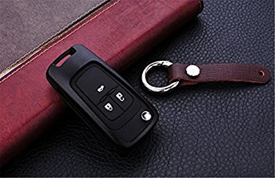 [MissBlue] Aircraft Aluminum Key Fob Cover For Chevrolet Remote Key, Cool Protector Case Skin Fits Chevrolet Folding Flip Car Key, Unisex Leather Key Fob Keychain for Men Key Fob Holder for Women