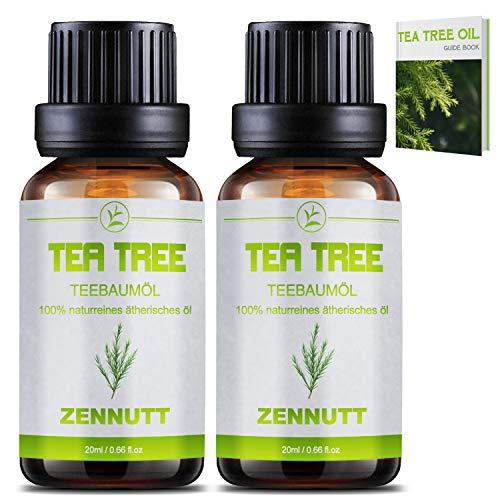 2 PACK Huile Essentielle Tea Tree Bio Huiles Essentielles Arbre à thé Pure et Huile Essentiel pour Soulager les Imperfections Cutanées à L'acné,pour Diffuseurs,Massage,Traitements des odeurs de pieds