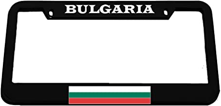 Speedy Pros Bulgaria Flag Bulgarian Country Zinc Metal License Plate Frame Car Auto Tag Holder - Black 2 Holes