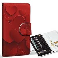 スマコレ ploom TECH プルームテック 専用 レザーケース 手帳型 タバコ ケース カバー 合皮 ケース カバー 収納 プルームケース デザイン 革 ラブリー 赤 レッド ハート 005706