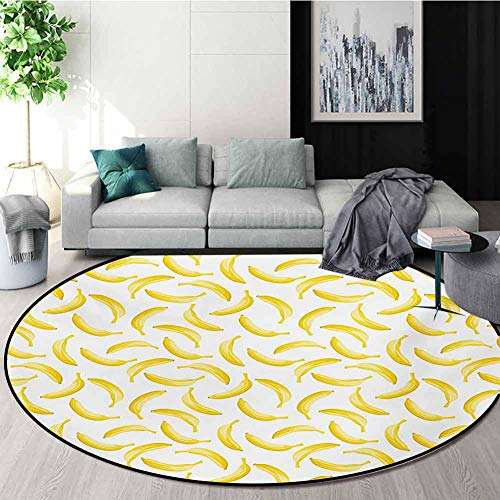 Review Of RUGSMAT Yellow and White Non-Slip Area Rug Pad Round,Cartoon Style Bananas Pattern Exotic ...