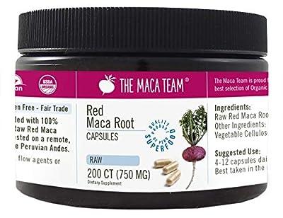 Red Maca Capsules - 750 Mg, 200 Ct - Raw, Certified Organic, Fresh Harvest from Peru, Fair Trade, GMO-Free, Gluten Free and Vegan