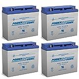 Power Sonic 12V 18AH SLA Battery Replacement for Peak PKC0AZ, PKC0BK - 4 Pack