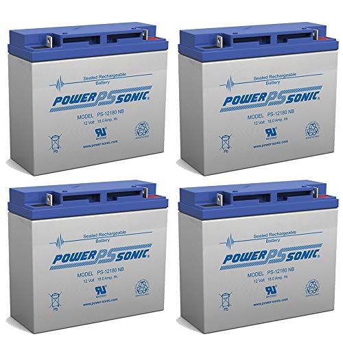 Power Sonic 12V 18AH Battery Replaces E-Wheels EW-36 Mobility Scooter - 4 Pack