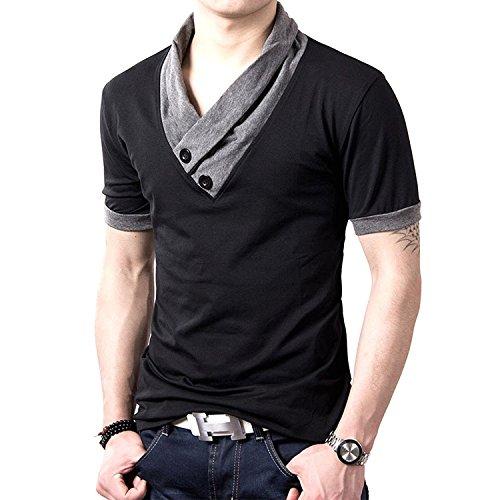 (メイク トゥ ビー) Make 2 Be スリム Vネック 半袖 Tシャツ スカーフ風 カジュアル シャツ MF01 (05.半袖 黒 XXXXL)