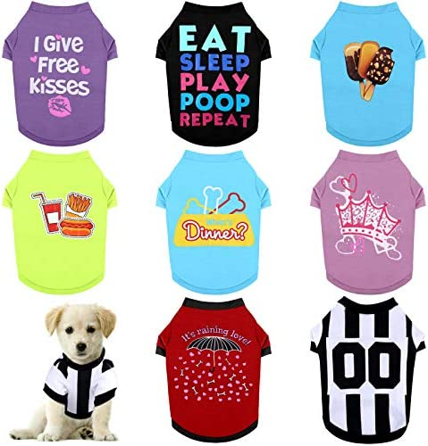 RUODON 8 Pieces Pet Breathable Shirts Printed Puppy Shirts Pet Sweatshirt Cute Dog Apparel Puppy product image
