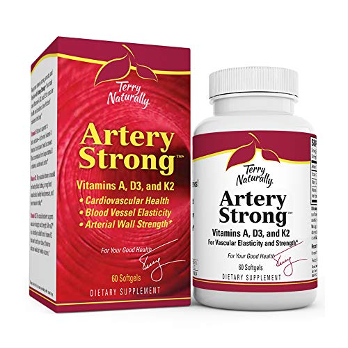 Terry Naturally Artery Strong - 60 Softgels - Vitamin A, D3 & K2 Supplement, Promotes Vascular Energy & Strength, Supports Cardiovascular Health - Non-GMO, Gluten-Free - 60 Servings