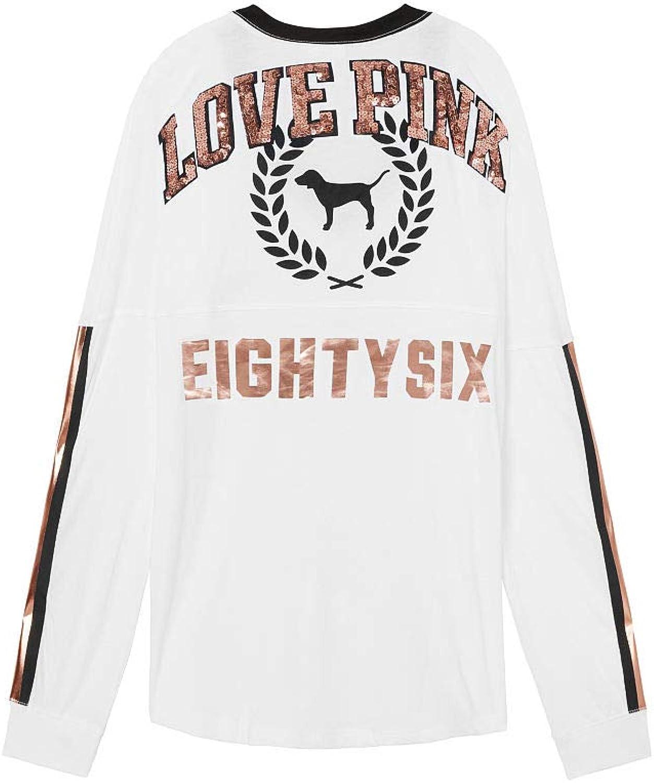 Victoria's secret Pink Sequin Bling Varsity VNeck Long Sleeve Tee color White colorblock Bling