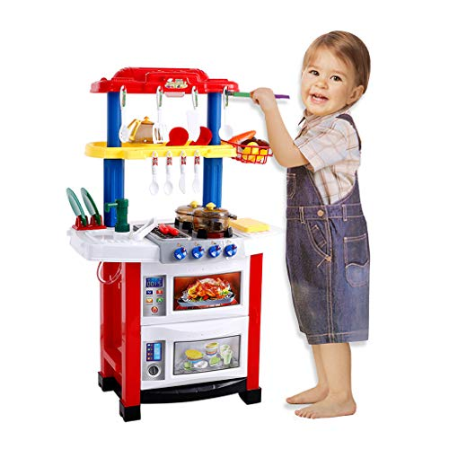 Atkobac Kitchen Best Playset Pretend Play Accessories Toys Including Cookware Kitchen Sink Cooker BBQ Bracket with Light and Sound Effect for Kids Full Kitchen Simulation