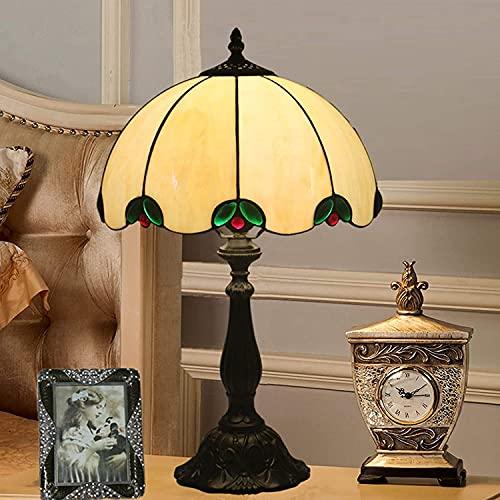 Lampada da tavolo in stile Tiffany, vetro colorato retrò 12in lampada da tavolo da tavolo, base in resina E27 / E26 per soggiorno camera da letto camera da letto ufficio caffetteria lampade da comodo