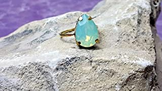 Teardrop Ring, Pacific Opal Swarovski Ring, Blue Crystal Ring, Opal Ring, Bridal Jewelry, Swarowski Jewelry, Aqua Blue Ring