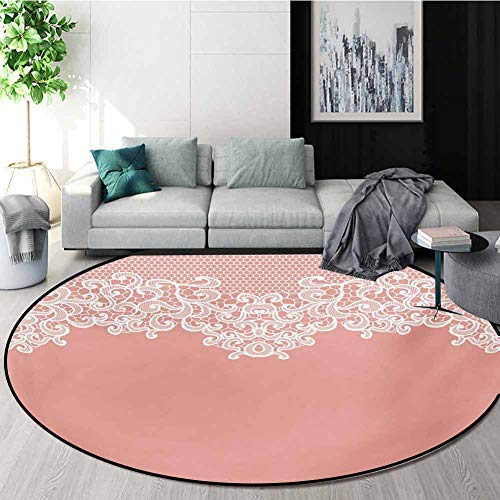 Best Deals! RUGSMAT Peach Round Rug Kid Carpet,Abstract Lace Design Wedding Engagement Inspiration F...