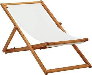 vidaXL Madera de Eucalipto Silla de Playa Plegable Asiento Reclinable Piscina Camping Hamaca Tumbona Jardín Patio Balcón Tela Blanco Crema