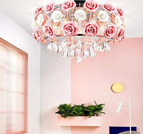 MoreChange 19.5inch Crystal Ceiling Light Fixtures Flush Mount Ceramic Rose Flowers, Chandelier Pendant Lighting with 5-Light E14 Socket for Living / Dining Room Bedroom Girl Room