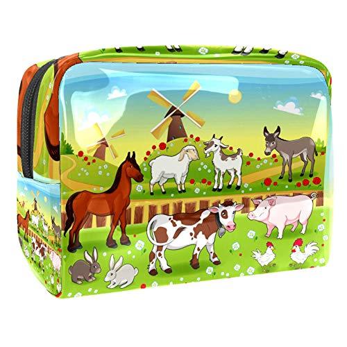 Granja de dibujos animados de gran capacidad para cosméticos, brochas de maquillaje (7.3 x 3 x 5.1 in/18.5 x 7.5 x 13 cm) espaciosas bolsas de maquillaje de viaje